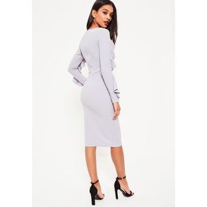 Missguided Dresses - NWT Misguided Grey Crepe Frill Long Sleeve Dress